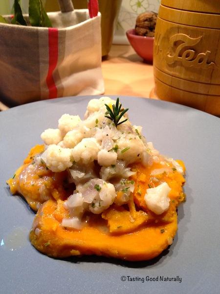 Patate douce et sauce de chou fleur