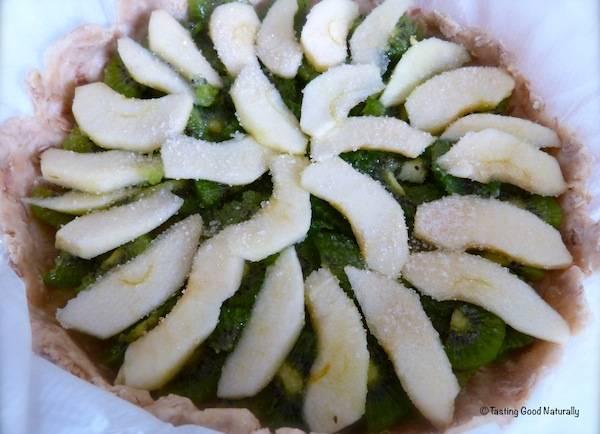 Tarte aux pommes et aux kiwis – vegan –