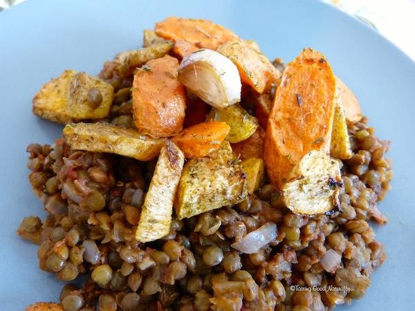 Lentilles et légumes rôtis végétalien