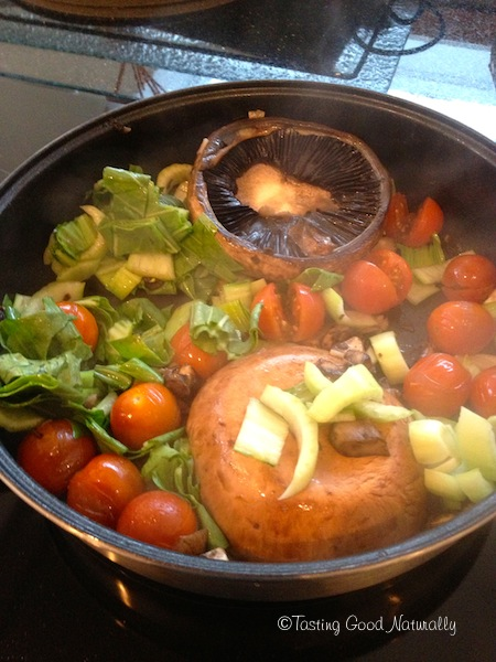 Cuisson portobello, pak choï, tomates végétalien