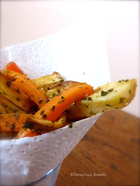 Frites de carottes panais et pommes de terre végétaliennes