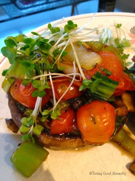 Portobellos farcis au pak choï et tomates cerises végétalien