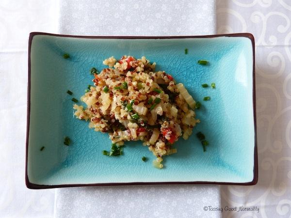 Quinoa pilaf aux blettes sans matière grasse végétalien