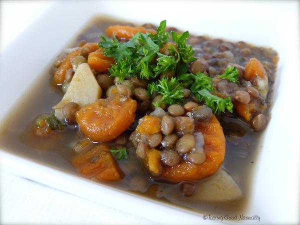Soupe lentilles végétalienne