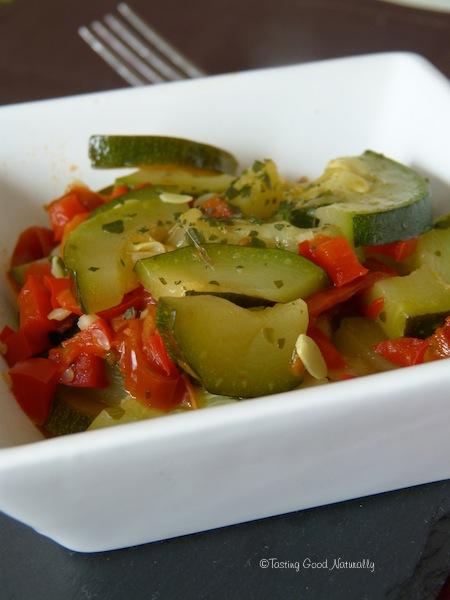 Courgettes aux poivrons et tomates séchées