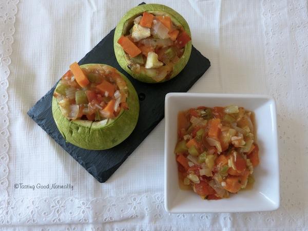 Courgettes farcies aux légumes vegan