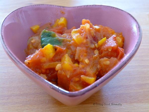 Sauce tomates poivrons épinards - vegan