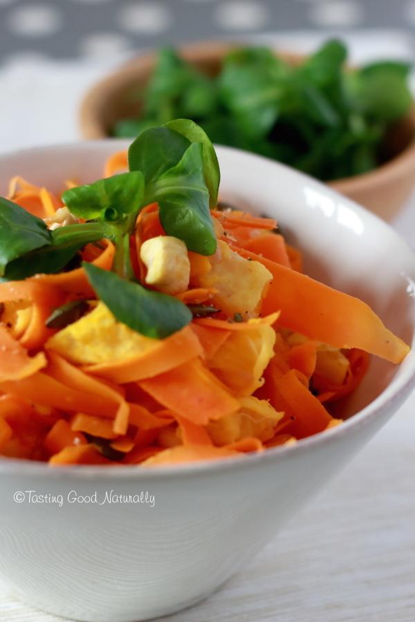 Tasting Good Naturally : En manque de couleur et de béta-carotène ? Venez découvrir les Carottes à l'orange noix de cajou et graines de courges #vegan