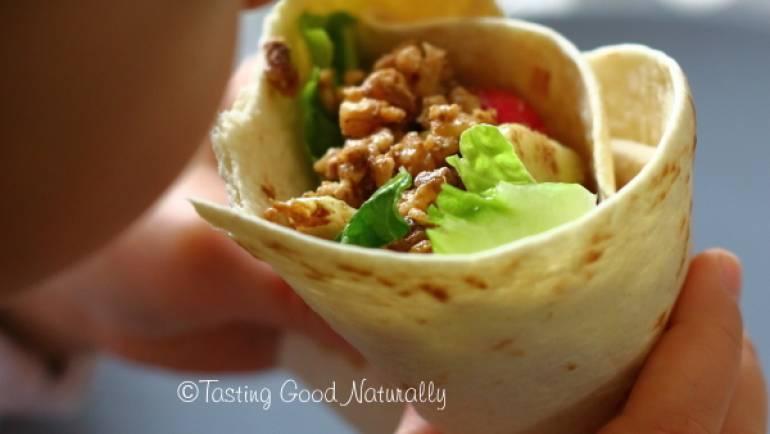 Tortillas aux noix et crudités (wrap) #vegan