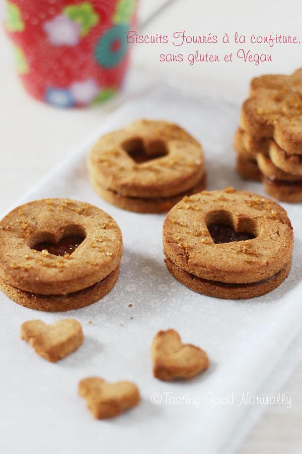 Tasting Good Naturally : C'est l'heure du goûter ! Qui n'a pas envie de goûter à ces petits Biscuits fourrés à la confiture sans gluten #vegan