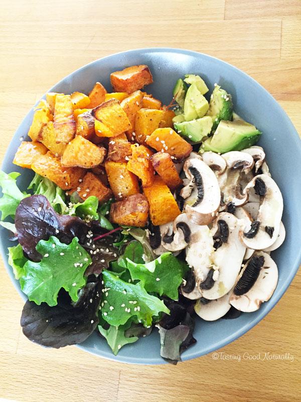 Tasting Good Naturally : Courge et patate douce rôties et leurs crudités #vegan