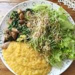 Poêlée de champignons épinards, lentilles corail et crudités #vegan