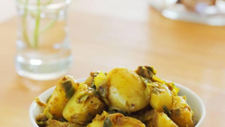 Pommes de terre et poireaux aux épices colombo #vegan