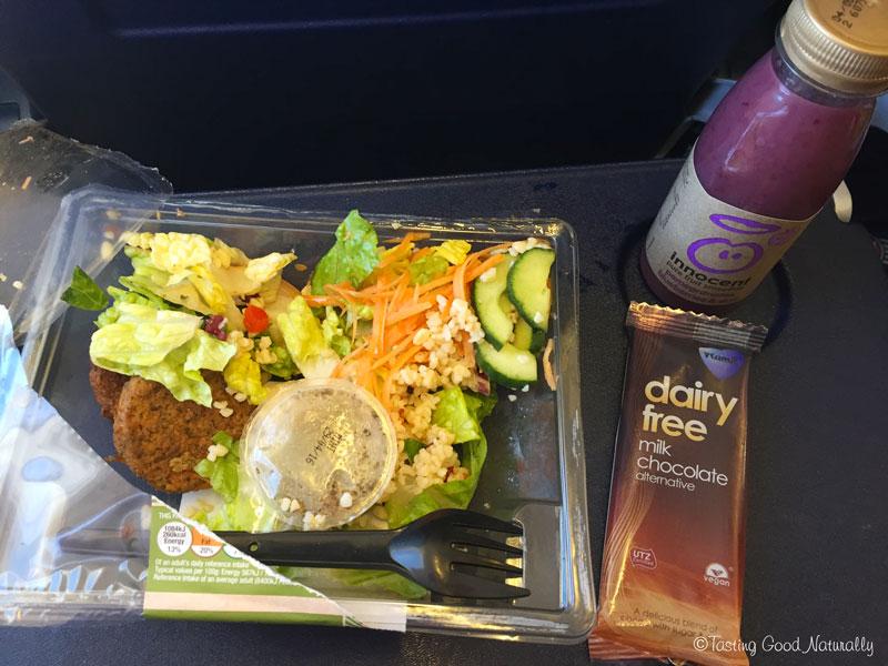 Tasting Good Naturally : Mon repas vegan dans l'avion du retour - Angleterre, Avril 2016